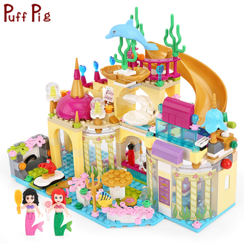 Elsa Princess Anna Ariel Mermaid Figures Ice Castle Building Blocks  City Friends Bricks Toys For Girl Gifts цена 2017