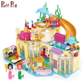 Elsa Princess Anna Mermaid Figures Ice Castle Building Blocks  City Friends Bricks Toys For Girl Gifts lepin elsa anna ice dream romantic castle 25002 model building blocks cinderella princess castle 25006 city set legoings friends