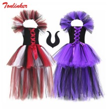 Halloween Girls Witch Tutu Tulle Dress+Headwear Cosplay Costume Kids Fancy Party Dress Children Clothes