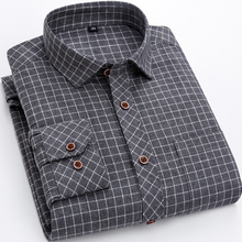 Casual Men's Shirts Plaid Striped Middle-aged Brushed Button  Shirt Man Cotton Loose Soft Regular Fit Male Blouse Chemises Homme цена