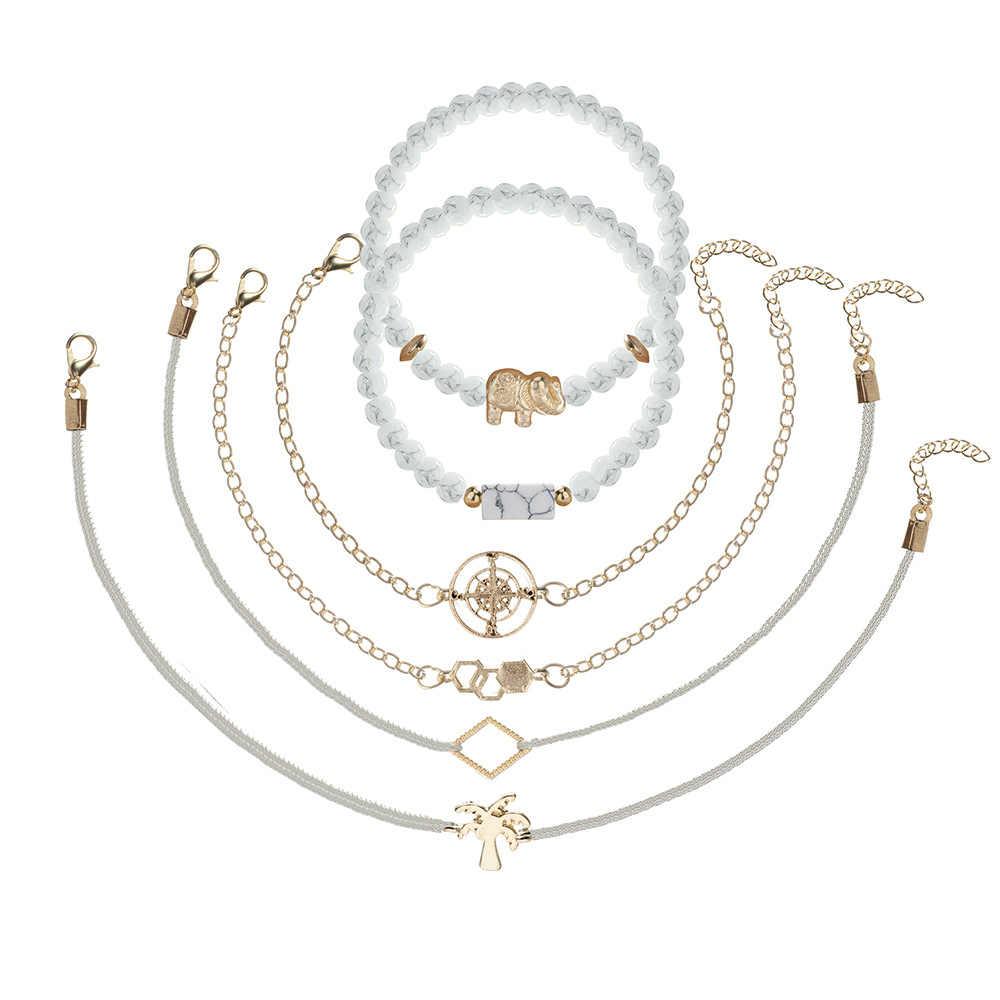 31 di stile Boho Oro Cuore Anmial Albero di Cocco Onda Perla di Cristallo Marmo di Fascino Jewerly Bracelrts Per Le Donne di Modo Della Nappa di collegamento