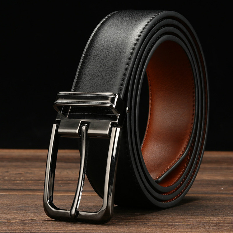 Cowhide Genuine Leather Belts Men Pin Buckle Jeans Waist Belt Male Black Brown Two Sides Color Belt Ceinture Homme