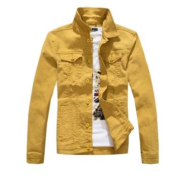 Chaquetas de mezclilla para hombre, chaqueta vaquera de Color liso, chaqueta vaquera ajustada, chaqueta militar de moda, amarillo, negro, verde, blanco, Top para hombre