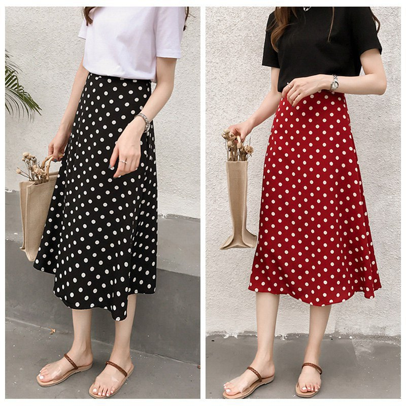 2020 Women Vintage Polka Dot Skirts Chiffon Elastic High Waist Solid Color Wild A-Line Long Paragraph Skirt