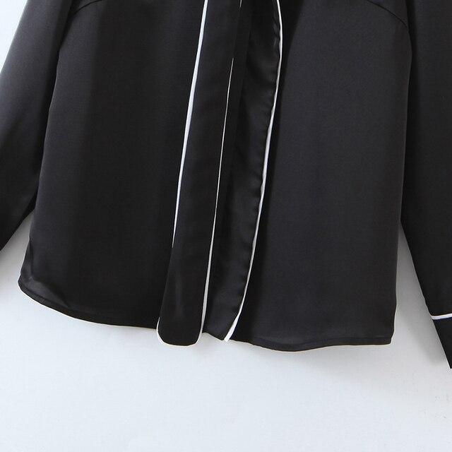 ZA 2020 New Fashion Women Patchwork Solid color chiffon shirt Blouses bowknot Long Sleeve Chiffon Shirt Casual Loose Tops 6