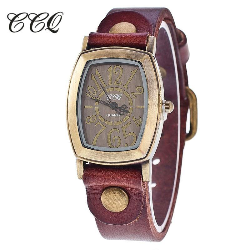 CCQ Brand Fashion Vintage Cow leather Bracelet Watches Casual Women Wristwatch Luxury Quartz Watch Relogio Feminino Gift