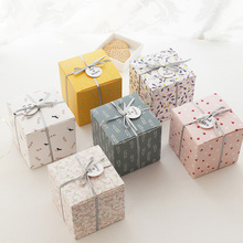 2 Pcs Gift Boxes With Ribbon and Tag Favor Boxes Creative Paper DIY Gift Bag Can
