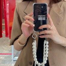 เกาหลีไข่มุกสร้อยข้อมือ Crossbody Lanyard สร้อยคอเคสโทรศัพท์สำหรับ Iphone 12 Pro Max MiNi 11 Pro XR X XS 7 8 Plus SE 2020