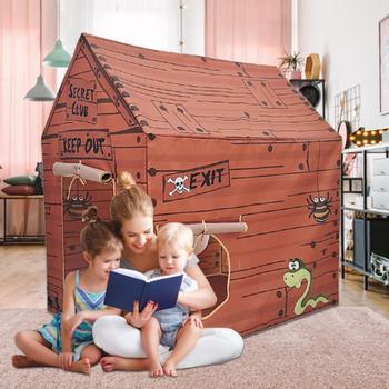 Przenośne namioty dla dzieci dom zabaw księżniczka dom zabaw indyjski dom drewniany dom piracki mała dekoracja pokoju tipi tanie i dobre opinie Other 6 lat baby tent Składany support