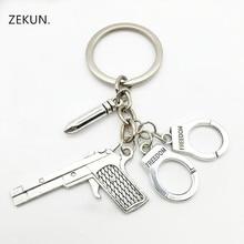 New Creative Desert Eagle  Pistol Revolver Keychain Pistol Handcuffs Bullet Keychain Men and Women Keychain Friends Gift