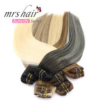 "MRSHAIR Ombre Clip In Hair Extensions Straight Human Hair 14"" 18"" 20"" Full Head 7pc Natural Machine Remy Hair Piano Ombre Blonde(China)"