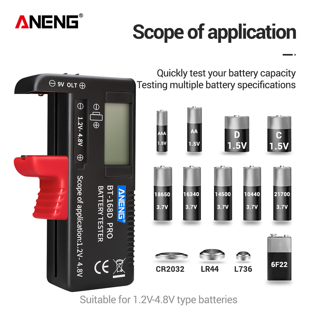 ANENG AN-168 POR Digital Lithium Battery Capacity Tester Checkered load analyzer Display Check AAA AA Button Cell Universal test