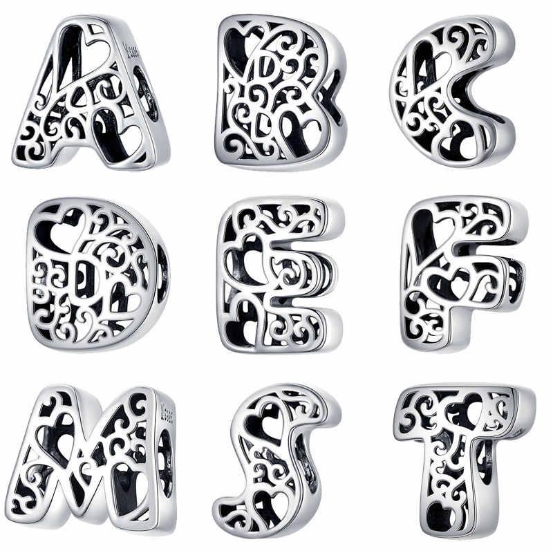 Bisaer à venda 925 prata esterlina letra a a z alfabeto contas de prata encantos apto para charme pulseiras prata 925 jóias fazendo