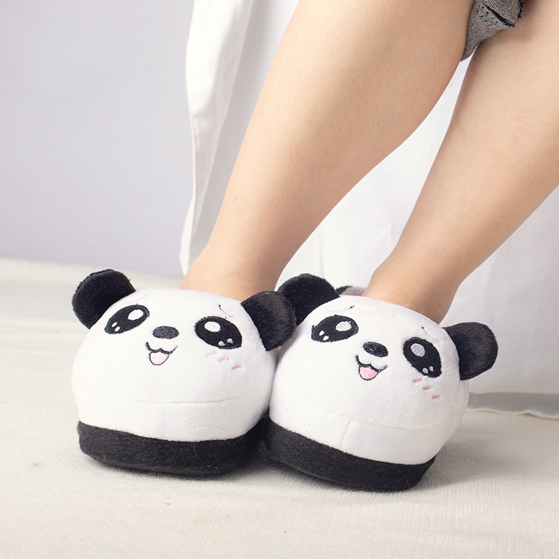 Suihyung Kids Home Slippers Plush Panda Slippers Soft Bottom Non-slip Indoor Shoes Children Cotton Shoes Boys Girls Winter Shoes