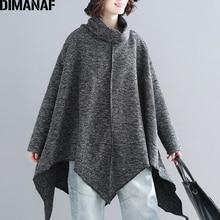 DIMANAF プラスサイズ女性プルオーバーシャツファッションタートルネック秋冬厚手ニットゆるいオーバーサイズのトップスにスプライシング服グレー