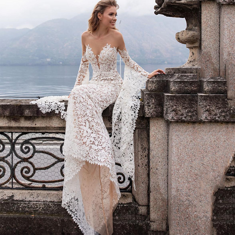 SODigne Lace Wedding Dresses Mermaid Flare Sleeves Princess Bride Dresses Elegant Design Wedding Gowns
