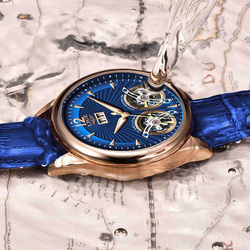 นาฬิกาผู้ชาย 2020 ใหม่หนังสีฟ้าคู่ Tourbillon บุรุษนาฬิกา LIGE TOP อัตโนมัตินาฬิกา Montre Homme + กล่อง
