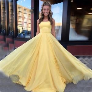 Simple vestido graduacion largo Spaghetti Straps Yellow Chiffon Prom Dresses Long 2019 Cheap Young Girls Formal Party Gowns