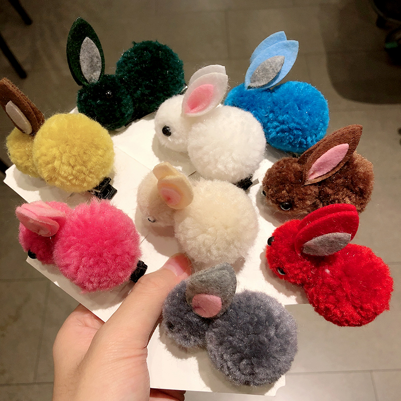 Cute Colorful Plush Rabbit Headband For Girls Sweet Hair Clip Elastic Hair Band Hairpin Ponytail Holder Fashion Hair Accessories