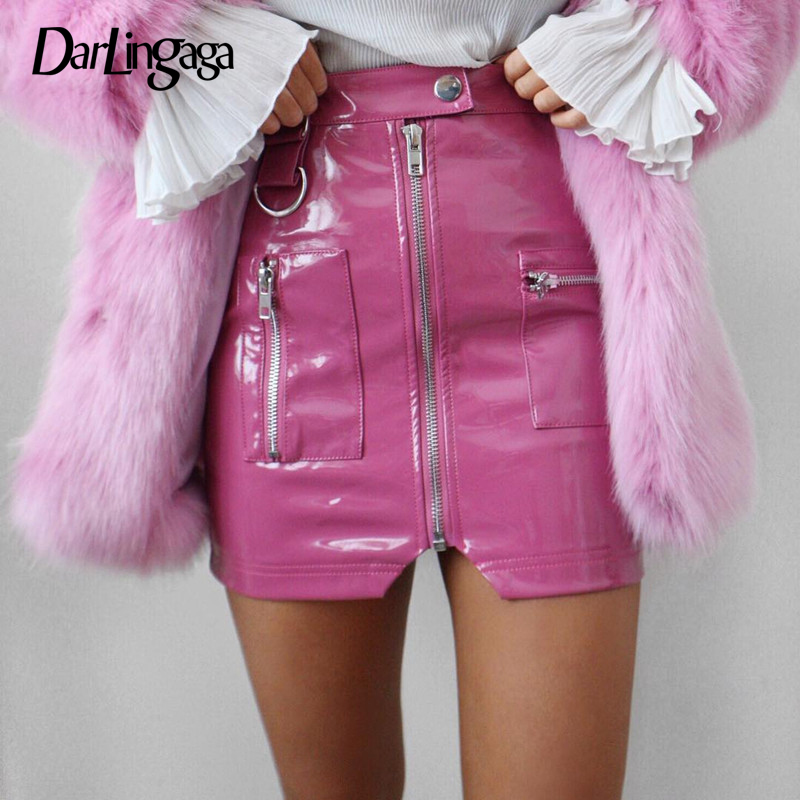 Darlingaga Streetwear Ziper Bodysuit PU Leather Skirt Women Fashion Pink Pockets High Waist Skirt 2020 Mini Summer Skirts Faldas