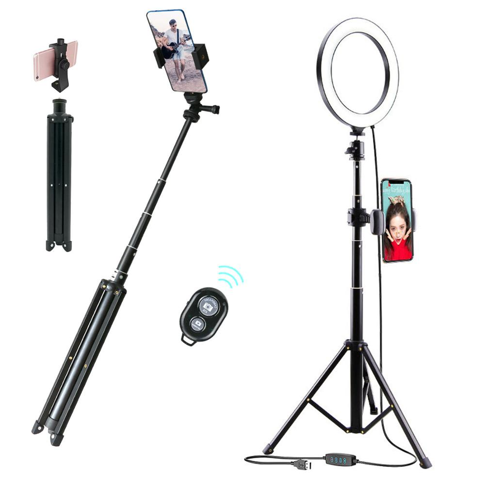 Bluetooth Dimmable LED Ring Light 10 inch Camera Ringlight Tripod Stand Cell Phone Holder For YouTube Photography Photo Video