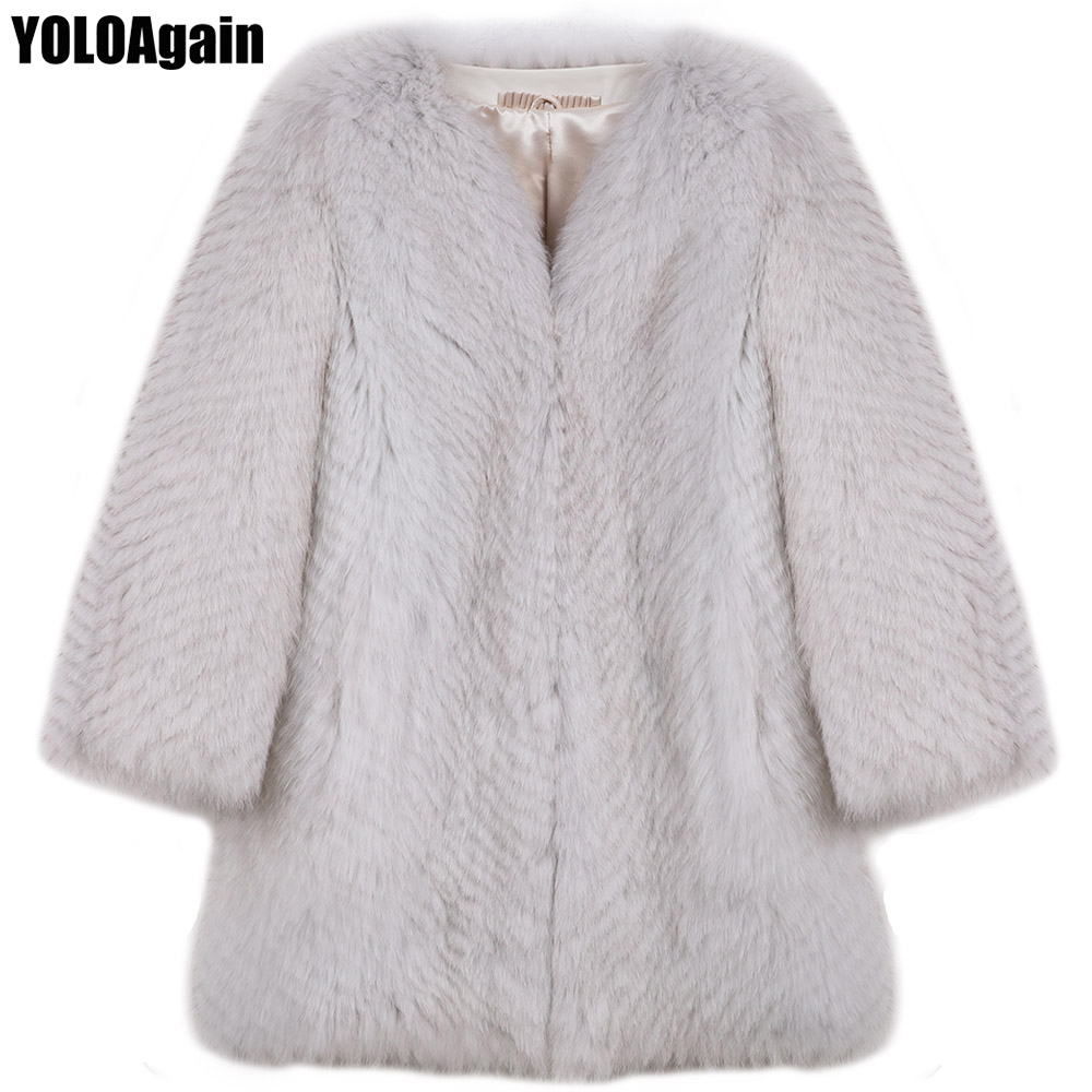 YOLOAgain winter warm women long natural fox fur coat ladies V-neck real fox fur coat