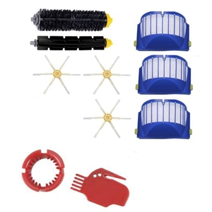 Compatible for IRobot Roomba 600 Serie,610 620 625 630 650 660 Bristle&Flexible Beater 3-Armed Brush Filters Kit 10 PCS