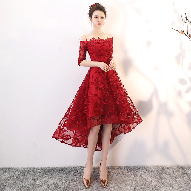 Wine Red Lace High Low Prom Dresses 2020 Elegant Boat Neck Off The Shoulder Short Front Long Back Plus Size Homecoming Dresses 4