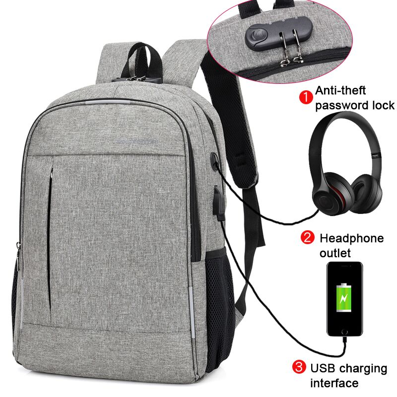 Anti Theft Man Backpack USB Charged laptop Large bagpack Travel Bag For Men School Student Boy girls mochila hombre 2019-in Backpacks from Luggage & Bags