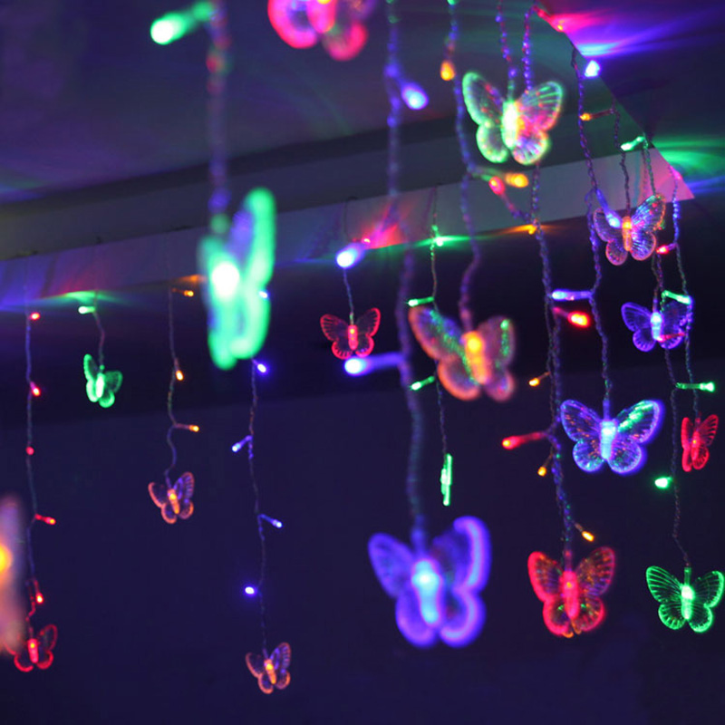 LED Butterfly Curtain Light Ices Strip Butterfly Pendant Light String Indoor Outdoor Decoration LAD-sale