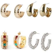Orecchini a cerchio in metallo doppio c per donna accessori per orecchini a forma di C a triplo cerchio aperto alla moda brincos