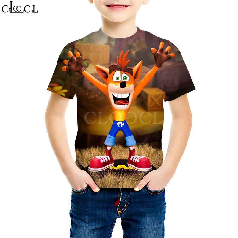 Kids Games Crash Bandicoot T Shirts Boy Girl 3D Print Classic Anime Game Pattern Tees Young Casual Kids Baby Tops