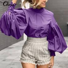 Celmia 2021 Fashion Big Lantern Sleeve Blouses Women Elegant Office Blusas Female Stand Collar Work Casual Solid Vintage Top 5XL