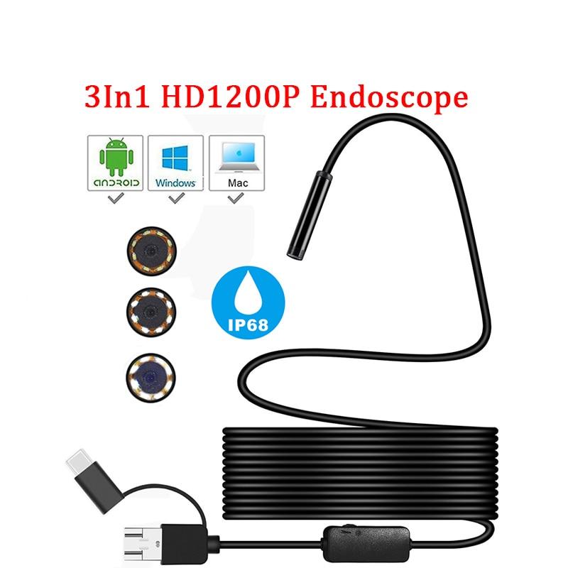 Камера-эндоскоп HD IP68, мини-камера-бороскоп, 1200 пикселей, гибкий кабель 2м, порт микро-USB-С, связь с устройствами на Android