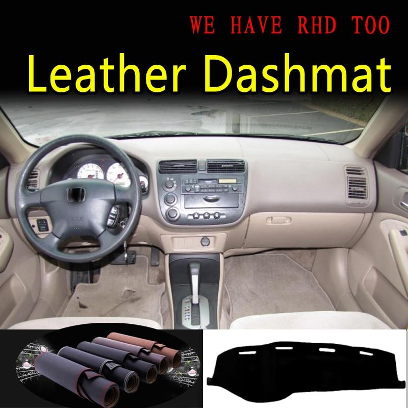 For Honda Civic  Sedan G7 Acura EL 2001 2002 2004 2005 Leather Dashmat Dashboard Cover Dash Mat Carpet Car Styling Accessories