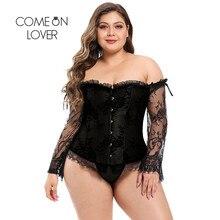 Comeonlover koronkowy gorset gorset Sexy długie wyszywane rękawy Ropa Gotica Mujer bez ramiączek kobiety Ruffles Plus rozmiar kwiatowy AI3443