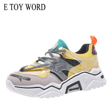 E TOY WORD Fashion Daddy Shoes Woman sneakers Breathable Women Platform chunky Sneakers Lace-Up Casual Vulcanize 2019