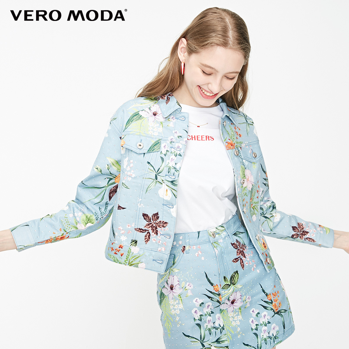 Vero Moda Women's 100% Cotton Printed Rhinestones Denim Jacket | 319257508