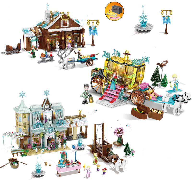 Princess Anna Queen Aisha mini street view Castle carriage <font><b>grocery</b></font> <font><b>store</b></font> Building Blocks Bricks <font><b>Toys</b></font> Gifts image