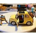 Lepines FIATed 500 городской автомобиль Строительные блоки совместимы 10271 серии создатель Модель Дети Рождественский подарок игрушки