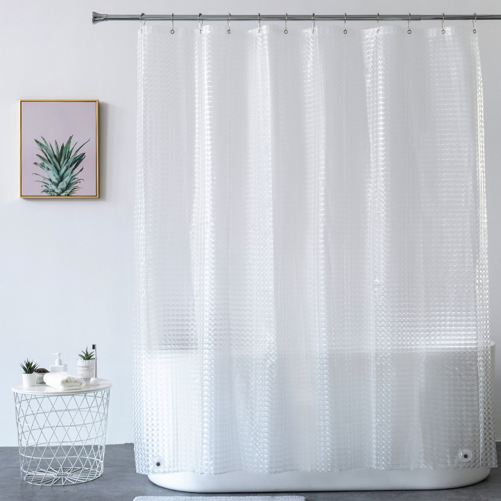 aimjerry heavy duty 3d eva clear shower curtain liner set for bathroom waterproof curtain