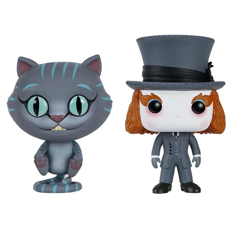 Аниме «Алиса в стране чудес», кавайная фигурка Чеширского кота и сумасшедшего хаттера, куклы, игрушка, Милая модель, игрушки, забавные подар...