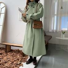 New Autumn Wool Overcoat Double-faced Cashmere Woolen 2019 Adjustable Waist Full Coats and Jackets Women