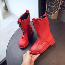 Новинка; детские зимние ботинки; сезон осень-зима; утепленная хлопковая обувь; водонепроницаемые Нескользящие ботинки для маленьких девочек; кожаные ботинки
