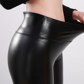 SVOKOR kobiety Plus rozmiar zimowe spodnie skórzane wysokiej talii ciepłe aksamitne spodnie spodnie damskie grube Stretch Pantalon Femme S-5XL tanie i dobre opinie Kostek CN (pochodzenie) REGULAR HIGH SEAM Spandex(10 -20 ) Legginsy Sukno winter pants WOMEN elegancki Faux leather Stałe