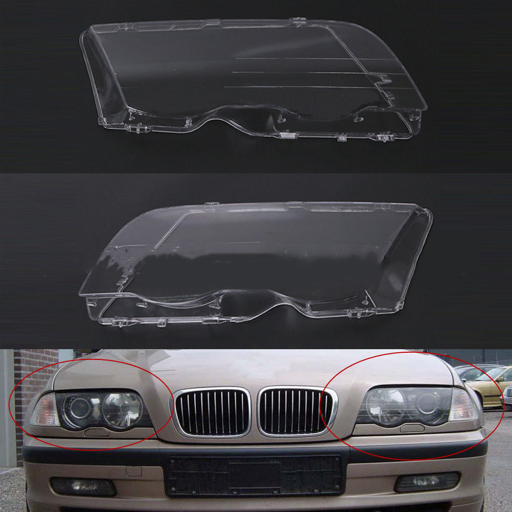 Auto Copertura Del Faro Automotive Sinistra Destra Faro Borsette Testa Lente Luce Coperture per BMW E46 318i 320i 323i 325i 328i 1998-2001