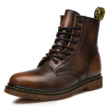 Coturno Men Martin Leather shoes High Top Fashion Winter War