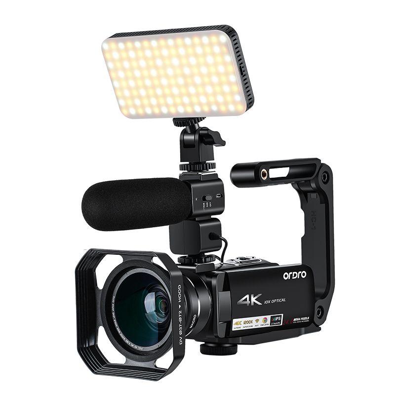 ORDRO 4K видеокамера 10X оптический зум видеокамера WiFi 3,1 ''IPS экран с микрофоном широкоугольный объектив