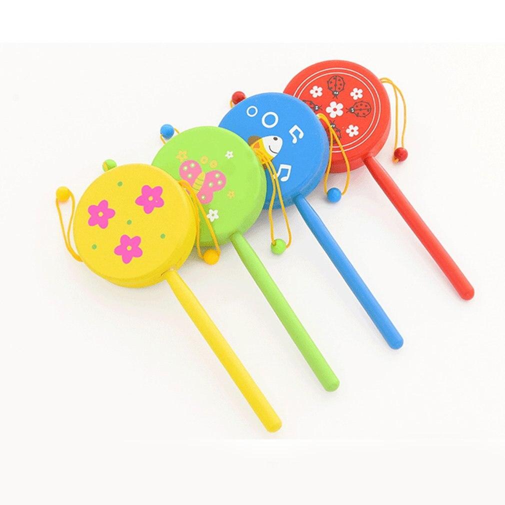 1 шт. Китайская традиционная деревянная погремушка, барабан, вращение, Игрушки для маленьких детей, мультяшная улыбка, музыкальный колоколь...