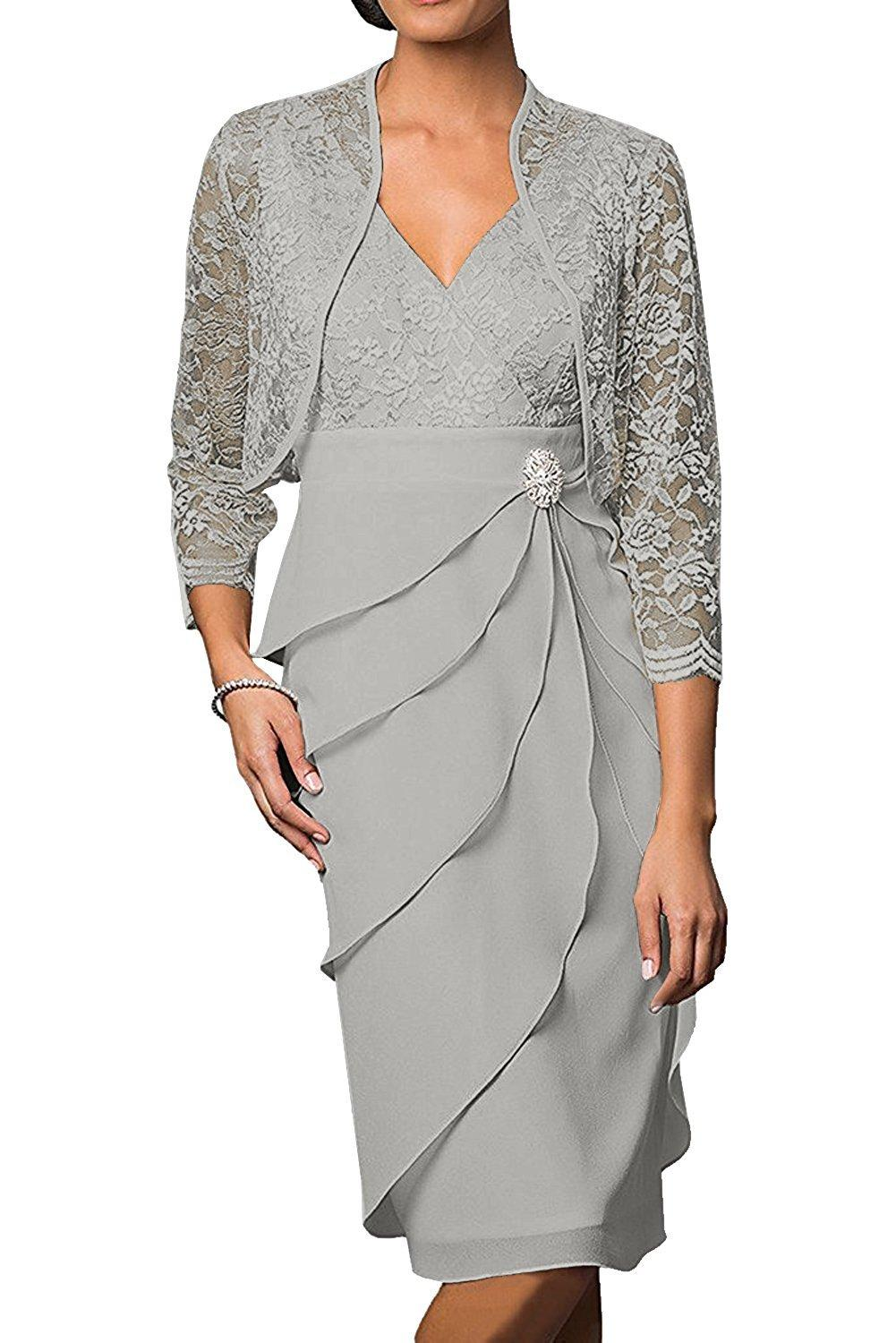 ynqnfsMH69 Women's Modest Mother of Bride Dresses Short with Jacket 3/4 Sleeves Silver prom dress